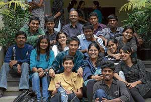 Cheerful: Augustine (at the back) with his students. Dh photos by Dinesh S K