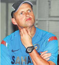 GAZING INTO THE FUTURE: Indian coach Gary Kirsten wears a pensive look during an  interaction with the media at the preparatory camp in Bangalore on Thursday. DH Photo