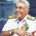 Navy Chief Admiral Sureesh Mehta at a news conference in New Delhi on Thursday. PTI