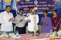 Beginning: ZP Vice-President Chenduru Venkatesh inaugurating the Morarji Desai Residential School for minorities in Peresandra village of Chikkaballapur taluk. Backward Classes and Minorities Commissioner Muddukumar is also seen. DH photo