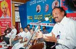 Writer  Kum Veerabhadrappa speaking at the four-day state level study camp of Students' Federation of India on Friday at Kalangann in Mangalore. DH photo