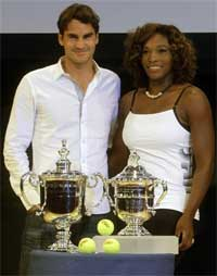 Serena Williams, right, and Roger Federer, of Switzerland, pose for photographs during a news conference to promote the US Open tennis tourney at New York. AP