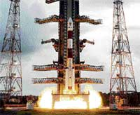 Milestone: The PSLV-C11 carrying the Chandrayaan-I blasts off from the launch pad at Sriharikota on October 22, 2008. AFP