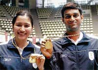 Golden Duo: A file picture of Jwala Gutta (left) and V Diju, who won the Chinese Taipei GP gold title on Sunday.