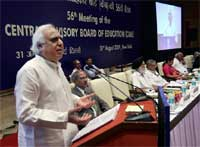 Union Minister for HRD Kapil Sibal addresses the gathering at the 56th Meeting of Central Advisory Board of Education, in New Delhi, on Monday. PTI