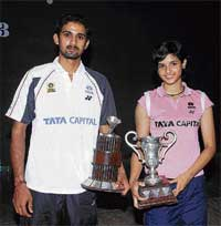 Victorious: Aditya R Prakash (left) and Jacqueline Rose Kunnath won the men's and women's titles respectively in the State badminton championship on Monday. DH photo