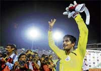 Resilient: Subrata Paul came up with three penalty saves to help India win the  Nehru Cup. AP