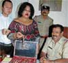 AT LAST: Filipino Makeme Mariah Ido seen with her jewellery at Upparpet police station in Bangalore. KPN
