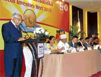 Chief Minister B S Yeddyurappa speaking at the investors' meeting in Beijing on Thursday. Dh Photo