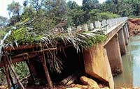 Neglected: A partial view of the dilapidated bridge at Umbalakere and Karki. DH photo