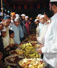 An iftar party hosted inside a Ganesh pandal at Hyderabad