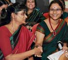 Special teachers Diploma in Special Education first rank holders Shuba Mariam Thomas and Sonal S Raja greeting each other at the Convocation for Special Educators organised by Karnataka Parents' Association for Mentally Retarded Citizens in Bangalore on Saturday. DH photo