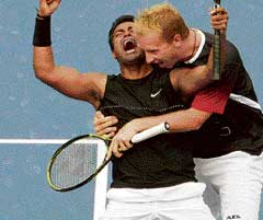 Leander Paes and Lukas Dlouhy celebrate their entry into the doubles final.