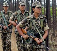 First batch of BSF female constables patrol the Indo-Pak border fence near Amritsar on Friday. PTI