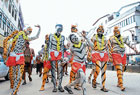 of colours and characters Men in hulivesha proceeding through Udupi streets on the occasion of Krishnashtami. DH photo