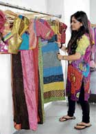 Colourful: A customer viewing the collection.