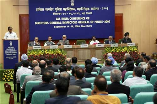 Union Home Minister P Chidambaram addressing the All India Conference of Directors General/Inspectors General of Police-2009, in New Delhi on Monday. PTI