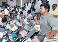 NOT FOR NOW:Popular Tamil actor Vijay addresses a press conference in Chennai on Sunday. PTI