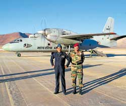 Securing position: Air Marshal N A K Browne, who commands the Western Air Command of the IAF and Lt Gen PC Bharadwaj who heads the critical Northern Command, at the Nyoma airstrip. IAF Photo