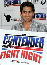 Vijender Singh, who won a medal at World Boxing Championships recently, launches 'The Contender', the first ever reality show in action sports, in Mumbai on Friday. PTI