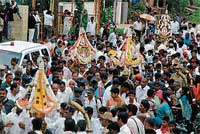 Festive Glory: Karagas of four Shakti devatas being taken out in a procession in the city after traditional pujas at Pampinakere on Saturday evening. DH photo
