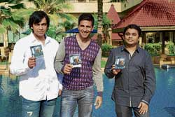 Director Anthony D'Souza, Akshay Kumar and A R Rahman.