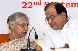 Union Home Minister, P Chidambaram with Chief Minister, Sheila Dikshit at the inaugural function of the Sunlight Colony Police Station, in New Delhi on Tuesday. PTI