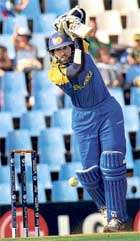 Rocking Form: Thillakaratne Dilshan drives en route to his century on Tuesday. AFP