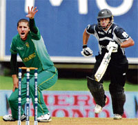 Got Him!: South Africa's Wayne Parnell appeals successfully for a leg-before verdict against Ross Taylor on Thursday. AFP