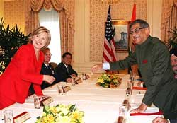 US Secretary of State, Hillary Clinton, meets Foreign Minister S. M. Krishna at the Waldorf Astoria Hotel in New York on Friday. AP