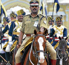 Police Commissioner Sunil Agarwal monitoring the procession on horseback. DH photo