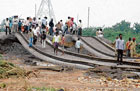 OFF Track: A railway track was severely damaged due to flooding near Raichur on Friday. KPN