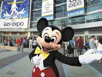Grand treat Mickey Mouse welcomes delegates at the Anaheim Convention Centre.  photos by author