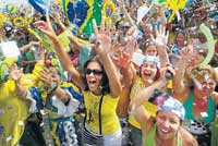 Big party: Brazilians have plenty to cheer about after the IOC vote on Friday.  AP
