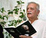 Oscar winning lyricist Gulzar gestures while reading a text from his biographical book on the occasion of his birthday in Mumbai on Tuesday night. PTI
