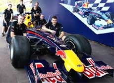 Red Bull racing crew assembling their Formula 1 Car for the Red Bull Speed Link action on October 11, in Mumbai on Wednesday. PTI