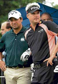 Michael Campbell (left) and Daniel Chopra  ahead of the Indian Open in Gurgaon on Wednesday. AP