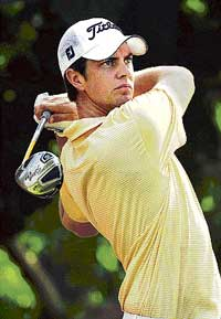 Australia's Adam Blyth in action at the Indian Open golf tournament in New Delhi on Thursday. AFP