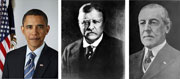 President Barack Obama won the 2009 Nobel Peace Prize Friday Oct. 9, 2009. The stunning choice made Obama the fourth sitting U.S. president to win the Nobel Peace Prize. Theodore Roosevelt, center, won the award in 1906 and Woodrow Wilson, right, won in 1919.