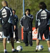 Argentina's coach Diego Maradona gestures during a training session in Buenos Aires, Thursday, Oct. 8, 2009. AP
