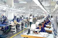 A view of one of the garments factory run by Bangalore-based exporter Gokaldas Exports Limited.