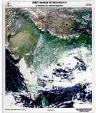 The first day image showing the mosaic of India, taken from ISRO's OceanSat-2.