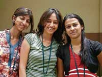 Shwetha Shrikanth (centre) in her lucky t-shirt.