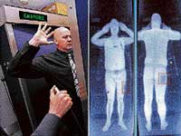 A combination of images shows an airport staff member (L) demonstrating a full body scan at Manchester Airport and a computer screen showing the results of a full body scan (R) on Tuesday. AFP