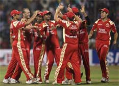 Royal Challengers, Bangalore celebrating  their success. PTI
