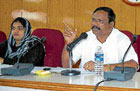 Warning President zilla panchayath M Srinivas speaking at the September review meeting at Kolaron THursday. Vice-president Naveeda Khan is also seen. DH Photo