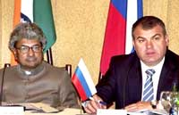Union Defence Minister AK Antony with his Russian counterpart Anatoly Serdyukov during a meeting on India-Russia Intergovernmental Commission on military technical co-operation in Moscow on Wednesday. PTI