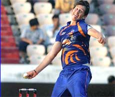 Eagles' De Villiers in action against Somerset at the Champions League Twenty20 match in Hyderabad on Friday. PTI