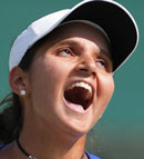 Sania Mirza reacts during her quarter final match against Marion Bartoli.AP