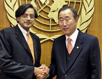 Minister of State for External Affairs Shashi Tharoor  with UN Secretary-General Ban Ki Moon at the United Nations headquarters in New York on Wednesday. (PTI)